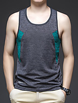 cheap -Men's T shirt Hiking Tee shirt Sleeveless Tee Tshirt Top Outdoor Quick Dry Lightweight Breathable Stretchy Autumn / Fall Spring Summer Polyester Gray+Green Red Blue Fishing Climbing Camping / Hiking