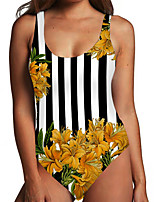 cheap -Women's One Piece Monokini Swimsuit Tummy Control Print Floral Yellow Swimwear Bodysuit Strap Bathing Suits New Fashion Sexy