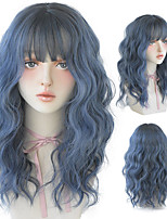 cheap -Blue Deep Wave Wig With Bangs For Women Long Omber Brown Hair Layered Heat Resistant Cosplay Party Synthetic Wig
