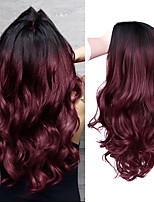 cheap -Long Wavy Black Red 99J Burg Pink Synthetic Wigs For Black Women Cosplay Party Female Daily False Hair Heat Resistant Fiber