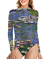 cheap -Women's New Vacation Fashion One Piece Swimsuit Color Block 3D Tummy Control Print Bodysuit Normal High Neck Swimwear Bathing Suits Blue / Party