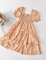 cheap -Kids Little Girls' Dress Sun Flower Graphic Festival Print Orange Knee-length Long Sleeve Cute Sweet Dresses Summer Slim 2-6 Years