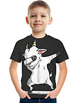 cheap -Kids Boys' Tee Short Sleeve Graphic Animal Children Tops Active Black 3-12 Years