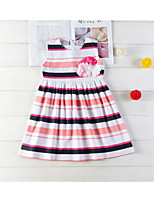 cheap -Kids Little Girls' Dress Striped Print Rainbow Knee-length Sleeveless Active Dresses Summer Regular Fit 2-6 Years