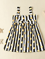 cheap -Kids Little Girls' Dress Polka Dot Striped Sundress Print Yellow Sleeveless Active Dresses Summer Regular Fit 2-6 Years