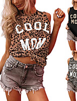 cheap -Women's Tank Top Tee / T-shirt Pure Color Crew Neck Cotton Leopard Letter Printed Sport Athleisure Top Sleeveless Breathable Soft Comfortable Everyday Use Street Casual Daily Outdoor