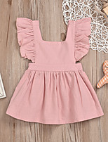 cheap -Kids Little Girls' Dress Solid Colored Ruffle Blushing Pink Sleeveless Active Dresses Summer Regular Fit 2-4 Years