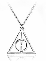 cheap -sakytal deathly hallows triangle pendant neckalce gold vintage collar sweater necklaces chain for women and girls (silver)