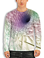 cheap -Men's Tunic 3D Print Graphic 3D Print Long Sleeve Daily Tops Basic Casual White