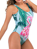cheap -Women's One Piece Monokini Swimsuit Push Up Open Back Print Geometric Leaf Light Blue White Black Swimwear Padded Strap Bathing Suits New Vintage / Animal / Cross