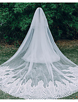 cheap -Two-tier Lace Wedding Veil Cathedral Veils with Solid / Trim 137.8 in (350cm) Lace / Tulle