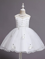cheap -Princess / Ball Gown Jewel Neck Knee Length Tulle Junior Bridesmaid Dress with Sash / Ribbon / Pearls
