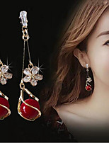cheap -Women's Cubic Zirconia Drop Earrings Tassel Fringe Stylish Imitation Diamond Earrings Jewelry Red For Date Festival 1 Pair