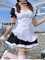 cheap -Lolita Maid Uniforms Cute Dress Maid Suits Women's Japanese Cosplay Costumes Black Solid Color Short Sleeve Above Knee / Apron