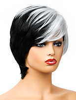 cheap -Synthetic Wig Natural Straight Short Bob Wig Short Black / White Synthetic Hair Women's Party Fashion Comfy Black White