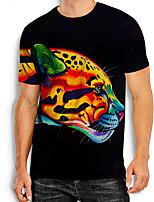 cheap -Men's Tees T shirt 3D Print Graphic Prints Tiger Animal Print Short Sleeve Daily Tops Basic Casual Rainbow