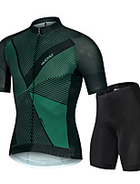 cheap -Nuckily Men's Short Sleeve Cycling Jersey with Shorts Spandex Dark Green Gradient Bike Breathable Sports Gradient Mountain Bike MTB Road Bike Cycling Clothing Apparel / Advanced / Stretchy
