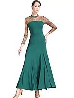 cheap -Ballroom Dance Dress Pleats Pattern / Print Women's Training Performance Long Sleeve Natural Nylon