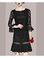 cheap -Sheath / Column Elegant Vintage Homecoming Cocktail Party Dress Jewel Neck 3/4 Length Sleeve Short / Mini Lace with Bow(s) Ruffles 2021