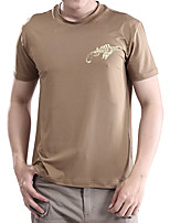 cheap -Men's T shirt Hiking Tee shirt Short Sleeve Crew Neck Tee Tshirt Top Outdoor Quick Dry Lightweight Breathable Soft Autumn / Fall Spring Summer Elastane Polyester Solid Color Black Khaki Green Fishing