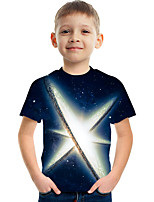 cheap -Kids Boys' Tee Short Sleeve Graphic Children Tops Active Royal Blue 3-12 Years