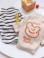 cheap -Dog Cat Shirt / T-Shirt Striped Bear Basic Adorable Cute Dailywear Casual / Daily Dog Clothes Puppy Clothes Dog Outfits Breathable White Beige Costume for Girl and Boy Dog Polyester XS S M L XL
