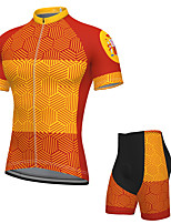 cheap -Men's Short Sleeve Cycling Jersey with Shorts Spandex Orange Bike Breathable Quick Dry Sports Graphic Mountain Bike MTB Road Bike Cycling Clothing Apparel / Stretchy / Athletic / Athleisure