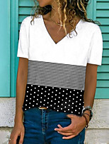 cheap -Women's T shirt Polka Dot Striped Color Block Print V Neck Tops Basic Basic Top White