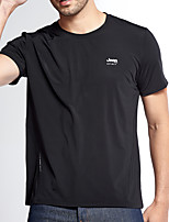 cheap -Men's T shirt Hiking Tee shirt Short Sleeve Crew Neck Tee Tshirt Top Outdoor Ultra Light (UL) Quick Dry Lightweight Breathable Autumn / Fall Spring Summer POLY Chinlon Solid Color Dark Grey Black