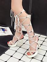 cheap -Women's Sandals Stiletto Heel Peep Toe PU Synthetics Black Beige