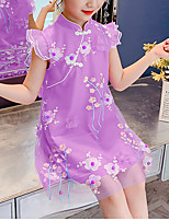 cheap -Kids Little Girls' Dress Flower Birthday Party Embroidered Purple Red Blushing Pink Knee-length Sleeveless Sweet Dresses Summer Regular Fit 3-13 Years