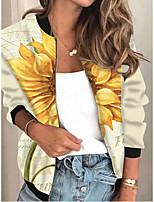 cheap -Women's Plants Print Active Spring &  Fall Jacket Regular Daily Long Sleeve Air Layer Fabric Coat Tops Yellow