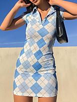 cheap -Women's Wrap Dress Short Mini Dress Blue Short Sleeve Check Patchwork Fall Summer Shirt Collar Elegant Casual Cotton 2021 S M L