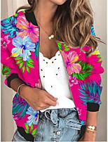 cheap -Women's Plants Print Active Spring &  Fall Jacket Regular Daily Long Sleeve Air Layer Fabric Coat Tops Fuchsia