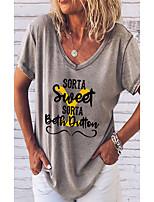 cheap -Women's T shirt 3D Letter Print V Neck Tops Basic Basic Top Gray