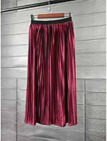 cheap -Women's Daily Elegant Skirts Solid Colored Pleated White Black Wine