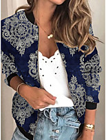 cheap -Women's Print Print Active Spring &  Fall Jacket Regular Daily Long Sleeve Air Layer Fabric Coat Tops Blue