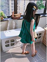 cheap -2020 summer new children's loose sleeveless baby vest dress girls temperament solid color buttoned dress
