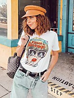 cheap -Women's T shirt Cartoon Graphic Print Round Neck Tops Cotton Basic Basic Top White Black Purple