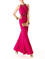 cheap -Sheath / Column Sexy Floral Wedding Guest Formal Evening Dress Halter Neck Sleeveless Floor Length Chiffon with Crystals 2021