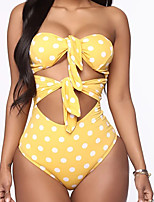 cheap -Women's One Piece Monokini Swimsuit Lace up Push Up Dot Red Yellow Blushing Pink Wine Swimwear Bandeau Tube Top Bathing Suits New Casual Sexy