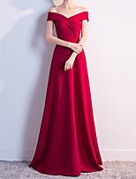 cheap -A-Line Reformation Amante Elegant Prom Formal Evening Dress Off Shoulder Sleeveless Floor Length Satin with Sleek Pleats 2021