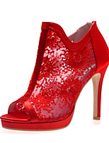 cheap -Women's Wedding Shoes Stiletto Heel Peep Toe Wedding Pumps Lace Satin Floral White Black Red