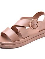 cheap -Women's Sandals Boho Bohemia Beach Flat Heel Peep Toe Flat Sandals Roman Shoes Daily PVC Solid Colored White Black Pink
