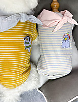 cheap -Dog Cat Shirt / T-Shirt Cartoon Basic Elegant Cute Dailywear Casual / Daily Dog Clothes Puppy Clothes Dog Outfits Breathable Yellow Gray Costume for Girl and Boy Dog Cotton S M L XL XXL