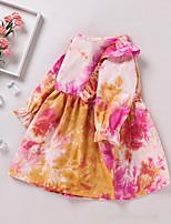cheap -Kids Little Girls' Dress Tie Dye Print Red Long Sleeve Active Dresses Summer Regular Fit 2-6 Years