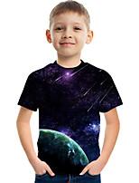 cheap -Kids Boys' Tee Short Sleeve Galaxy Graphic Children Tops Active Purple