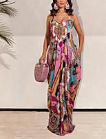 cheap -Women's Strap Dress Maxi long Dress Pink Green Sleeveless Floral Print Summer V Neck Elegant 2021 S M L XL
