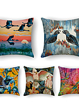 cheap -Cushion Cover 5PCS Linen Soft Print Square Throw Pillow Cover Cushion Case Pillowcase for Sofa Bedroom 45 x 45 cm (18 x 18 Inch) Superior Quality Mashine Washable