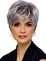 cheap -Synthetic Wig Natural Straight Short Bob Wig Short Silver grey Synthetic Hair Women's Fashion Comfy Fluffy Silver Dark Gray